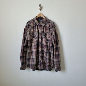 Buckle Black Athletic Fit L/S Plaid Shirt